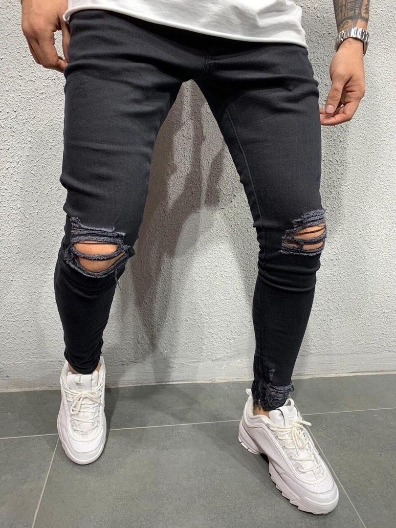 Черные,Зауженные,мужские джинсы