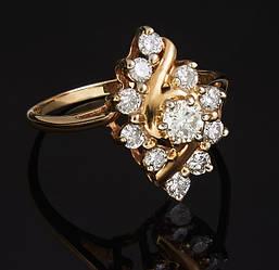 Кільце з жовтого золота з діамантами С41Л1№7