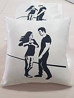 Подушка   в подарок Девушка и парень, 40х40см