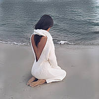Платье вязаное ручной работы шерсть цвет пломбир