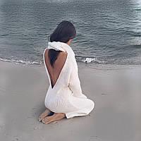 Платье вязаное ручной работы шерсть цвет пломбир, фото 1