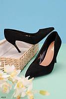 Женские туфли лодочки черные на каблуке 9,5 см эко-замш, фото 1