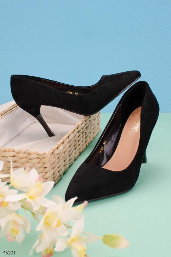 Женские туфли лодочки черные на каблуке 9,5 см эко-замш