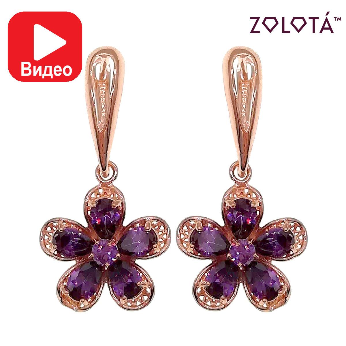Серьги Zolota, размер 35х18 мм, фиолетовые фианиты (куб. цирконий), вес 8 г, позолота PO, ЗЛ00825 (1)