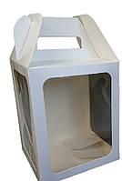 Коробка для кулича, пряничного домика, 165х165х200 мм. С ТРЕМЯ ОКНАМИ белая, фото 1