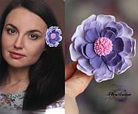"""""""Фиолетовая фантазия"""" заколка цветок для волос. Подарок девушке, фото 1"""