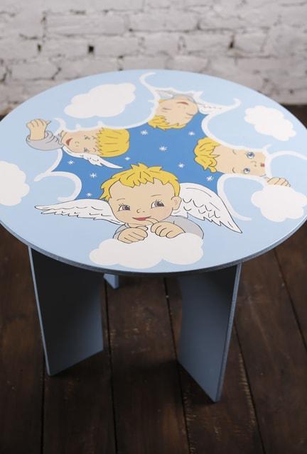Стол детский круглый с рисунком Ангелы (465)