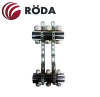 Коллекторная группа Roda на 2 выхода с запорными и термостатическими клапанами (латунь)