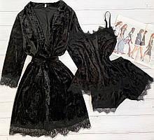 Женский велюровый халат  L-XL черный