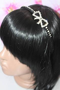 Великолепный тонкий обруч для волос черный серебристый декор в виде бантика с камнями