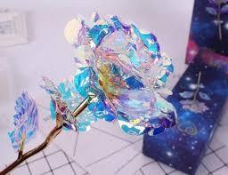Светящаяся роза покрытая фольгой, 24 K розовая