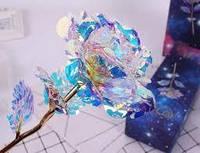 Светящаяся роза покрытая фольгой, 24 K розовая, фото 1
