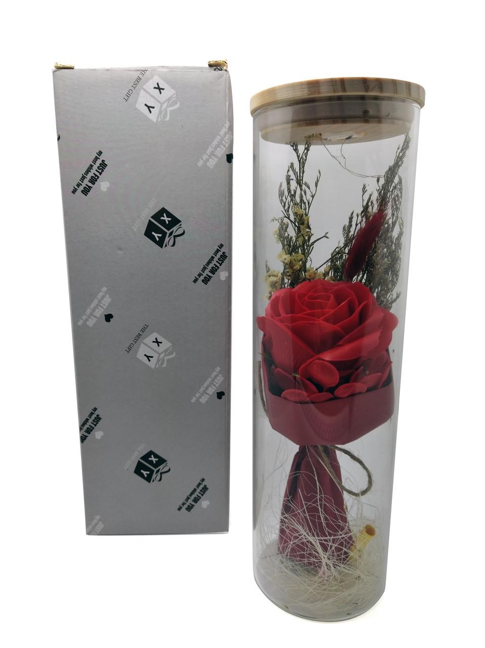 Роза подарочная в колбе с LED подсветкой большая №A52 красная