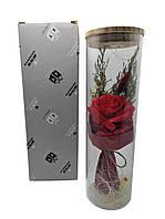 Роза подарочная в колбе с LED подсветкой большая №A52 красная, фото 1