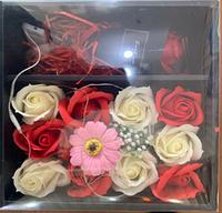 Композиция роз из мыла в подарочной коробке (с розой) XY19-80, фото 1