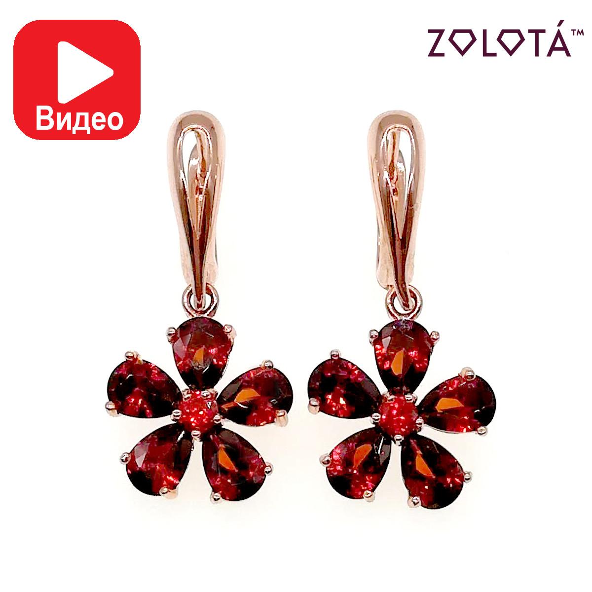 Серьги Zolota с темно-красными фианитами (куб. цирконием), из медицинского золота, в позолоте, ЗЛ00428 (1)
