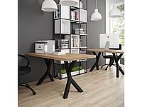 Обеденный стол Брайт 120х75 Черный бархат/Вествуд (Металл дизайн)
