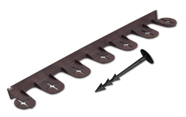 Бордюр газонный PALISGARDEN 75м, набор-125 элементов/60 см*38мм+300 колышков GeoPEG, коричневый, OBP1201-075BN