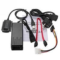Переходник USB 2.0 to SATA IDE 2.5 3.5 c блоком питания Черный 000639, КОД: 950177