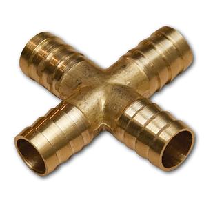 Соединитель шланга Х-образный (четверник) 4х6мм, ЛАТУНЬ, SE1-2K06