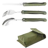 Туристический походный набор Lesko 3в1 нож вилка ложка 3831-11525, КОД: 1559668