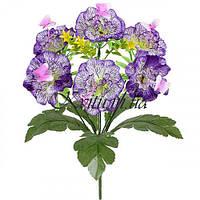 Искусственные цветы букет гвоздики атласные пернатые с бабочкой, 36см