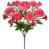 Искусственные цветы букет гвоздики пернатые атласные, 43см