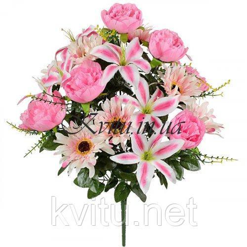 Букет композиция лилии с пионами и хризантемами, 63см