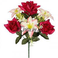 Искусственные цветы букет нарядные розы и лилии, 40см