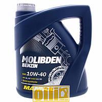 4л Mannol MOLIBDEN BENZIN 10W-40 - моторное масло полусинтетическое с молибденом MoS2 10w40