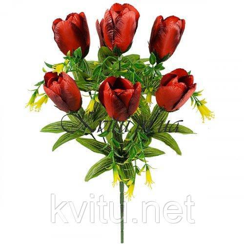 Искусственные цветы букет тюльпан 7-ка атласный с добавками, 42см