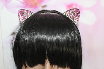 Красивый тонкий обруч для волос металлический с ушками украшенными розовыми и белыми камешками