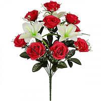 Искусственные цветы букет композиция роз и лилий, 55см