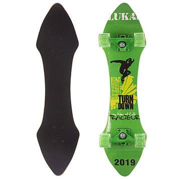 Лонгборд Лонгдистанс (скейтборд в зборі) LUKAI (колесо-PU, р-р деки 78х12/20см, зелений)
