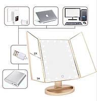 Дзеркало LED макіяжне настільне овальне потрійне, фото 4