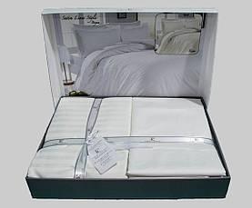 Комплект постельного белья First Choice Сатин Beyaz (Line) jacquard, фото 2