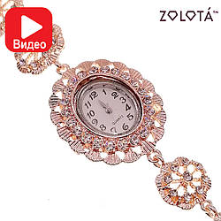 Кварцевые часы с белыми фианитами (куб. цирконием), в позолоте, ЧС00002 (1)