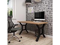 Обеденный стол Хенк 120х75 Черный бархат/Дуб античный (Металл дизайн)
