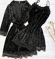 Женский велюровый пеньюар XL черный