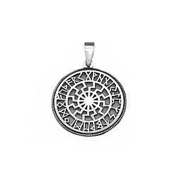 """Серебряная подвеска """"Чёрное Солнце"""" с рунами  из серебра 925 пробы"""