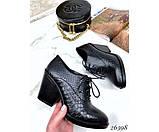 Закрытые кожаные туфли на шнурках и устойчивом каблуке, фото 3
