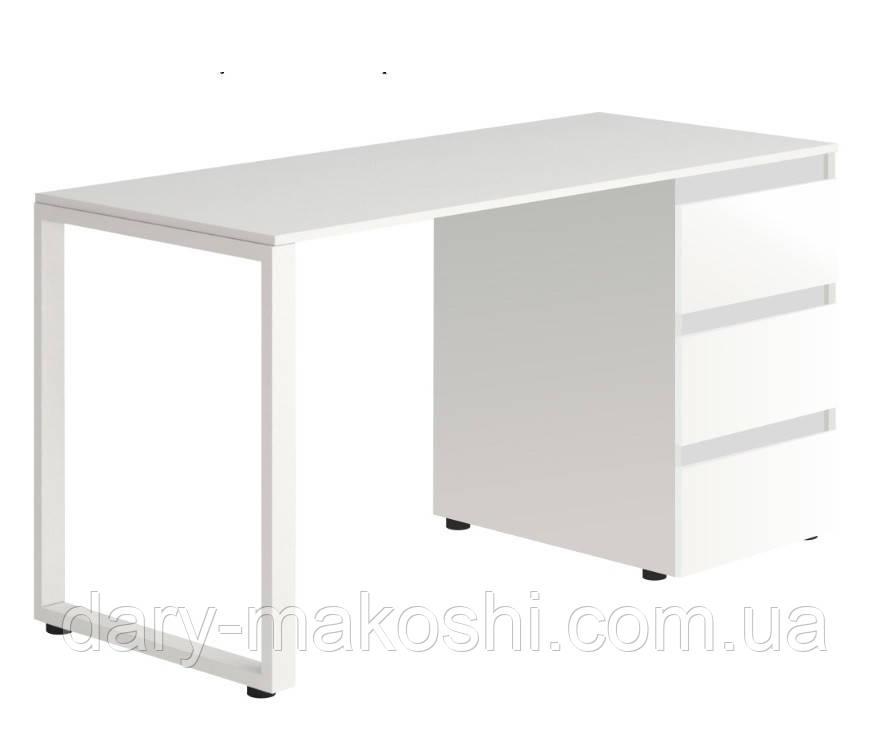 Стол Тавол Loft КС 8.1 со стационарной тумбой металл опоры черные 140смх60смх75см ДСП Белый
