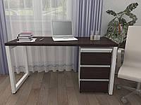 Стол Тавол КС 8.3 с мобильной тумбой металл опоры белые 140смх60смх75см ДСП 32 мм Венге-Белый