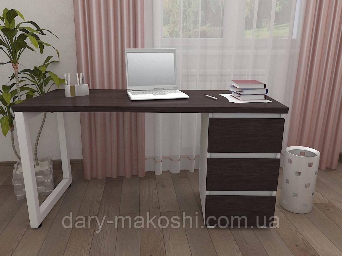 Стол Тавол КС 8.3 со стационарной тумбой металл опора белая 140смх60смх75см ДСП 32 мм Венге