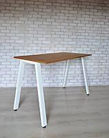 Стол Тавол КС 8.4 металл опоры белые 100смх60смх75см шпон натурального дерева ДУБ, фото 1