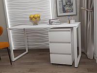Стол Тавол КС 8.1 с мобильной тумбой металл опоры белые 120смх60смх75см ДСП 16 мм Белый