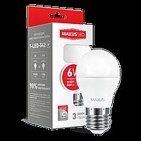 Набір ламп LED шарик MAXUS G45 F 6W 4100K 220V E27 2-LED-542-01