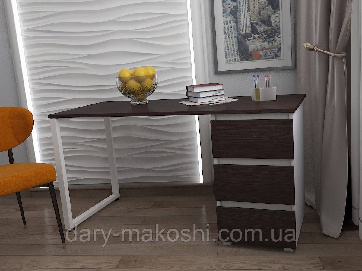 Стол Тавол КС 8.1 со стационарной тумбой металл опора белая 120смх60смх75см ДСП 16 мм Венге/Белый