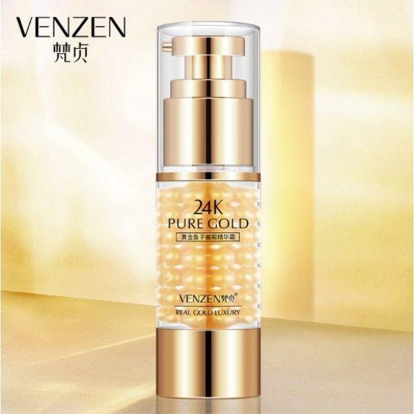 Омолаживающий крем для кожи вокруг глаз VENZEN 24К GOLD CAVIAR EYE CREAM с золотом и экстрактом черной икры 35