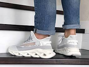 Демисезонные кроссовки белые текстильные, фото 3